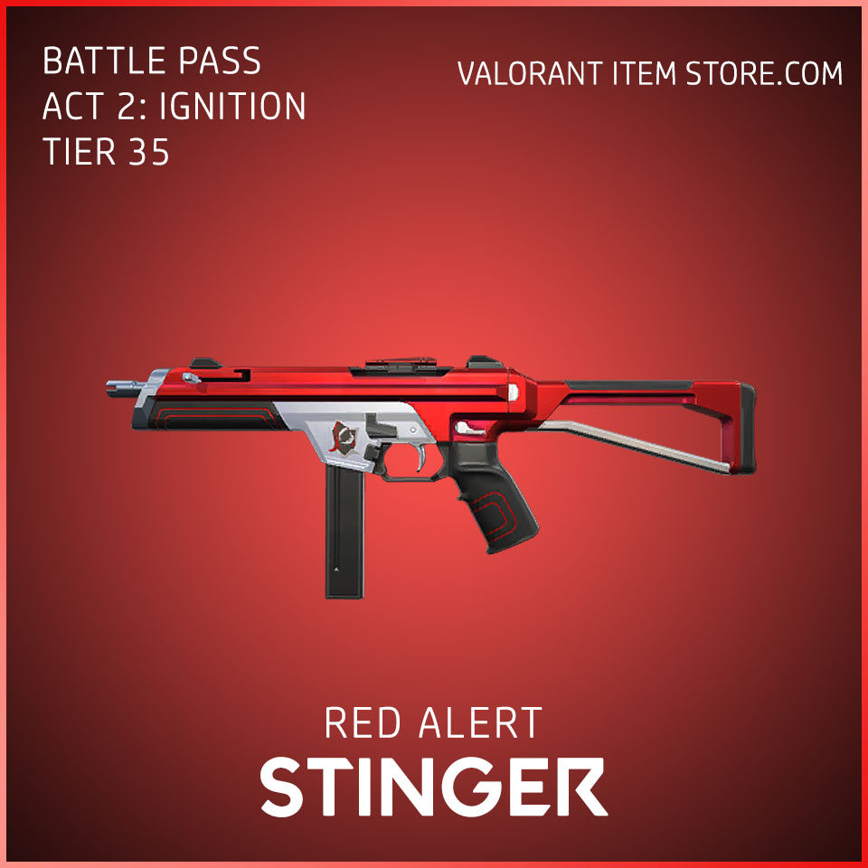 Red Alert Stinger Act 2 Ignition Tier 35 Valorant Skin
